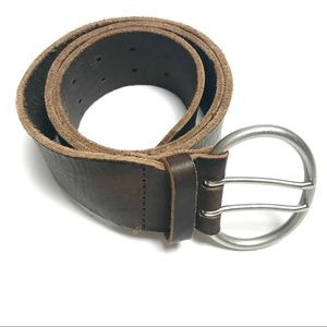 Vintage inspired double buckle leather belt